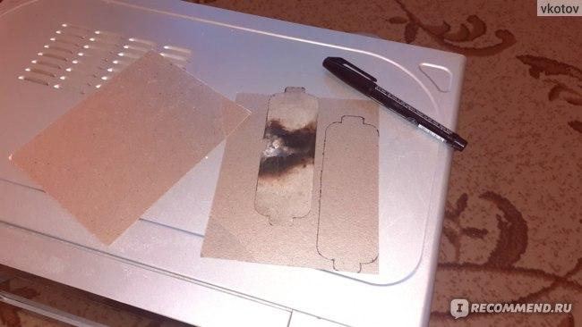 Слюда для микроволновой печи Yosoo AE-HCDM140 — снимаем старую пластину и рисуем контур при помощи фломастера или маркера