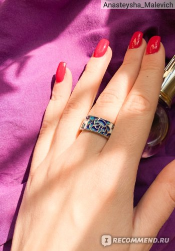 Кольцо Aliexpress New Ladies Classic Epoxy Enamel Blue Flower Ladies Ring 925 Silver Ladies Jewelry Wedding Ring Bridal Jewelry Wide Silver Ring