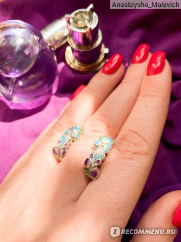 Серьги Aliexpress Fashion Ladies 925 Silver Earrings Butterfly Flower Shape Jewelry Blue Butterfly Earrings Fashion Ladies Jewelry Flower Earrings