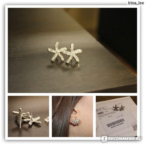 Серьги Tinydeal Elegant Sea Star Design Ear Pins Eardrop Earrings Ear Pendants Jewelry for Lady Girl WNL-98631  фото