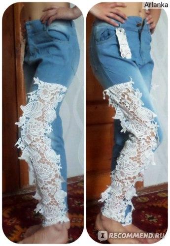 Джинсы AliExpress Women Fashion Slim Lace Crochet Stretch Denim Jeans Hollow Out Skinny Jeans Woman Pencil Pants Trousers for Women фото