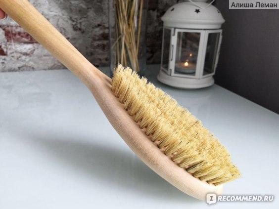 Массажная щетка Grosheff Березовая щётка с ручкой и щетиной из кактуса для сухого массажа фото