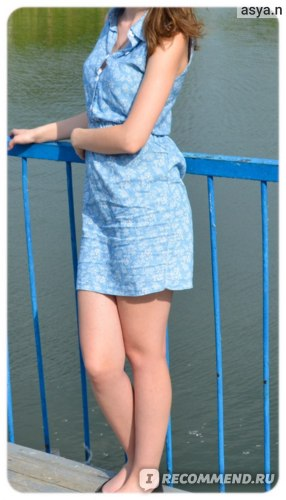 Платье AliExpress Feitong New 2015 Summer Fashion Women Lady Plus Size XL Lapel Sleeveless Casual Slim Denim Dress #312KM Free Shipping&Wholesales фото