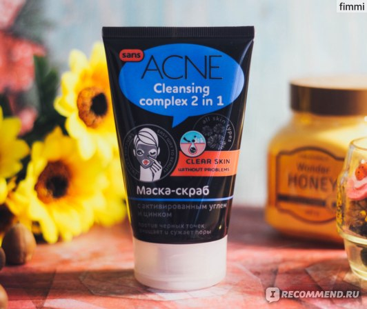 "Маска-скраб ООО ""Евро Лайн Косметикс"" Sans acne Cleansing complex 2 in 1 фото"