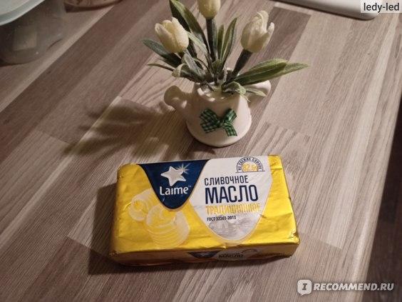 Масло сливочное Laime традиционное сладко-сливочное несоленое 82,5%, 180г. фото