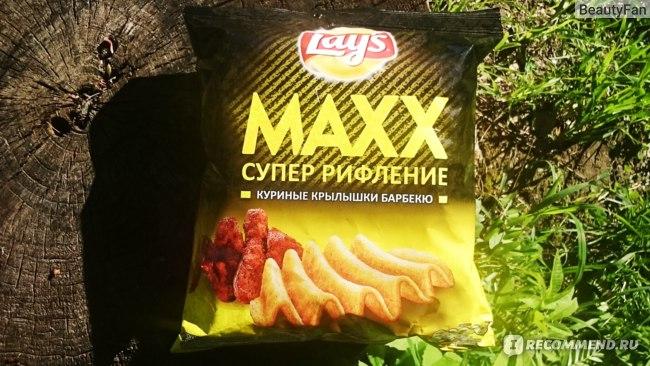 Lays Maxx супер рифленые «Куриные крылышки барбекю».