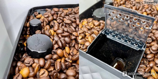 Слева — регулятор степени помола, справа — отделение для молотого кофе