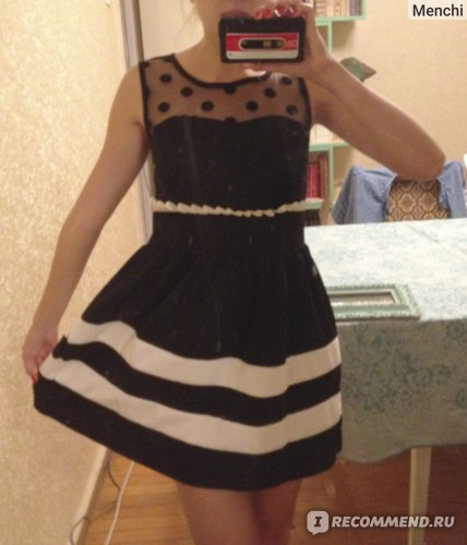 Платье AliExpress WOMEN 'S ADORABLE POLKA DOT GAUZE STITCHING WAIST VEST DRESS фото