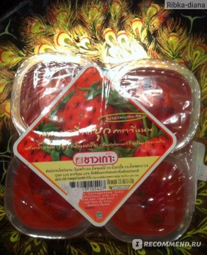 Желе Chaokon Конжаковое с яблочным соком и кусочками кокосового желе (со вкусом клубники) 4*115гр фото