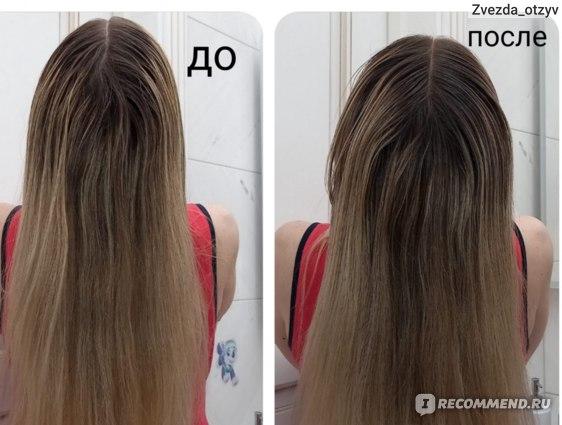"""На фотографии """"после"""" корни волос смотрятся интереснее и эффектнее. Переход получился естественный."""