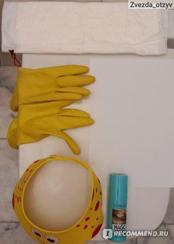 Пелёнка (закрыть плечи и шею), перчатки(защитить руки), козырёк (защитить лицо). Листок бумаги (проверить соответствие русого пигмента), спрей Magic retouch.