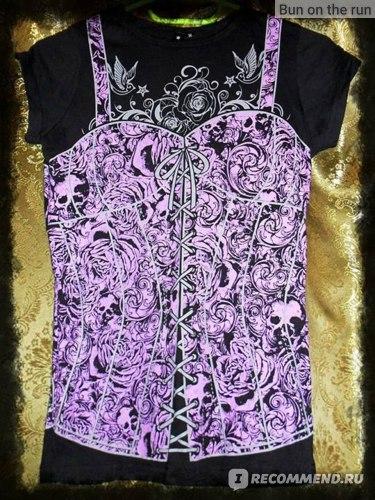 Футболка Living Dead Souls Corset Design Skinny Fit T-Shirt (Purple) фото