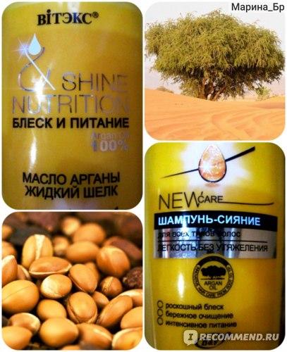 Шампунь Белита-Витэкс Shine&Nutrition Блеск и Питание для всех типов волос с маслом арганы фото
