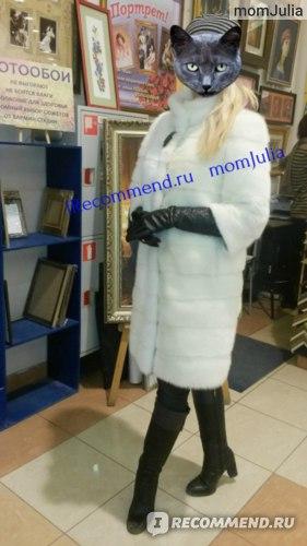 Белая норковая шуба Барс с укороченными рукавами
