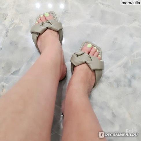 сандалии кожаные плетеные на плоской подошве Зара