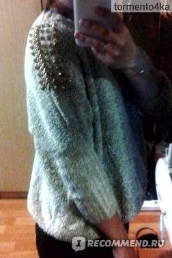Джемпер AliExpress East Knitting NP-080 sweaters for women tops knit cardigan Punk Stud Sweatshirt rivet shirts for Ladies turtleneck Black/beige фото