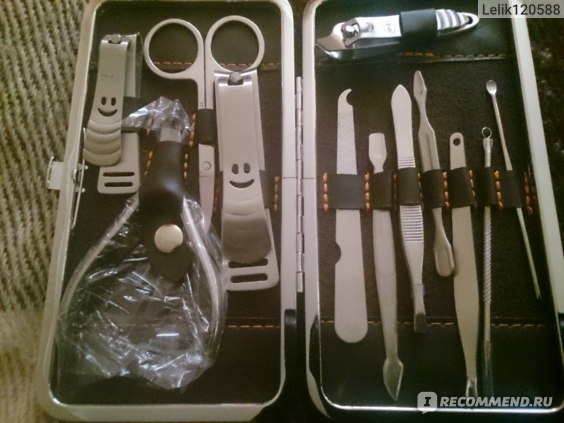 Маникюрный набор Aliexpress   1 set/12pcs Nail Care Clipper Scissor Tweezer Knife Manicure Kits + Stone Pattern Case 95009 Factory Price фото