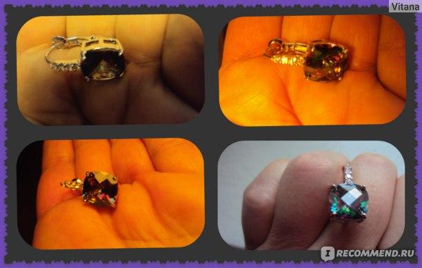 Серьги Aliexpress Fashion Women Earrings Wholesale Hot Jewelry Mysterious Rainbow Topaz 925 Dangle Hook Silver Earring Free Shipping фото