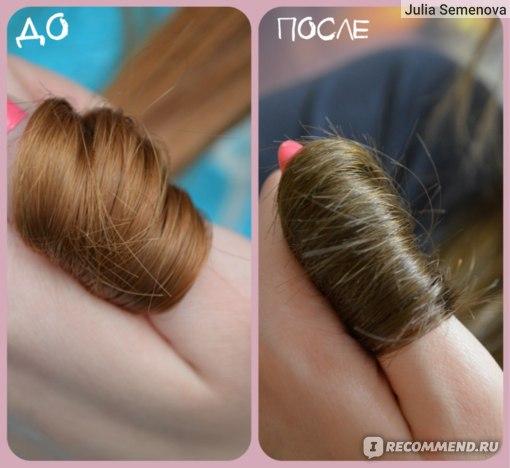 кончики. на фото ДО волосы предварительно вымыты шампунем глубокой очистки, нанесен органический бальзам