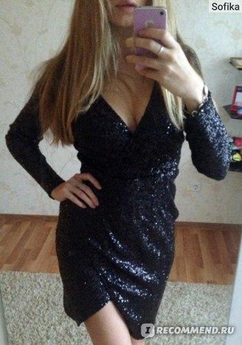 Платье ASOS  миди с пайетками и запахом , код товара: 397375 фото