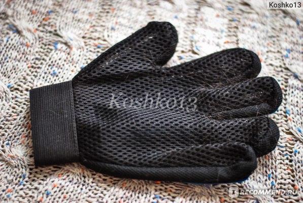 Перчатка для вычесывания шерсти для собак и кошек отзыв фото