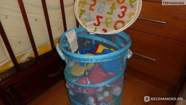 Сетчатая корзина для игрушек с крышкой IKEA КУСИНЕР фото