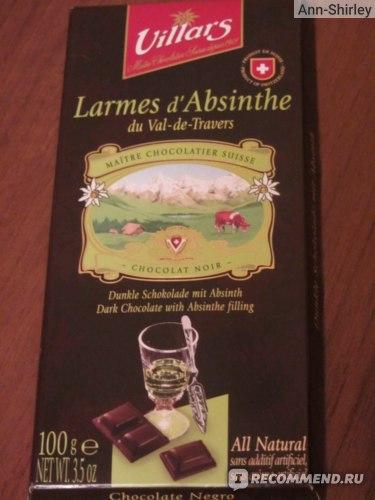 Шоколад Villars Larmes d'Absinthe au chocolat noir фото