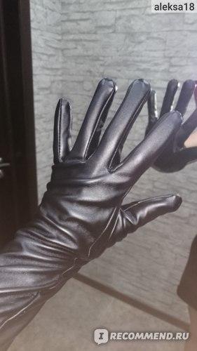 Перчатки AliExpress Long 50cm/40cm Black Over The Elbow Soft Lmitation Leather Mittens For Woman Fashion Winter Warm Fashion Show Women's Gloves фото