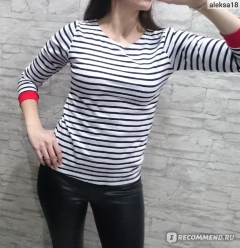Футболка AliExpress New Women's Leisure O-Neck Shirt Striped Long Sleeve Shirts фото