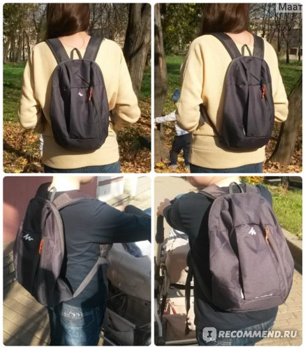 Верхний ряд - рюкзак на мне (рост 170 см), нижний ряд - на сыне (рост 136 см)