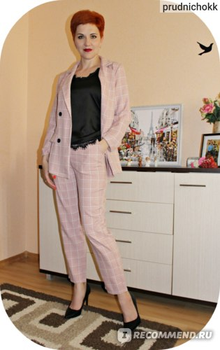 брючный костюм цвета пыльной розы