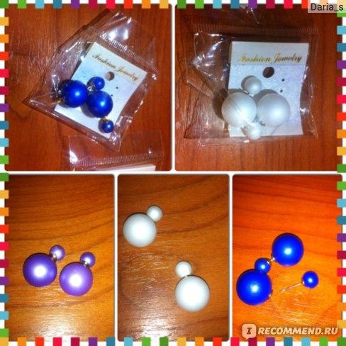 Серьги Aliexpress New Fashion Hot Selling 2014 Double Side matte Pearl Stud Earrings/ Big Pearl For Women / 19 color/ two cd bead/ mini order 3$ фото