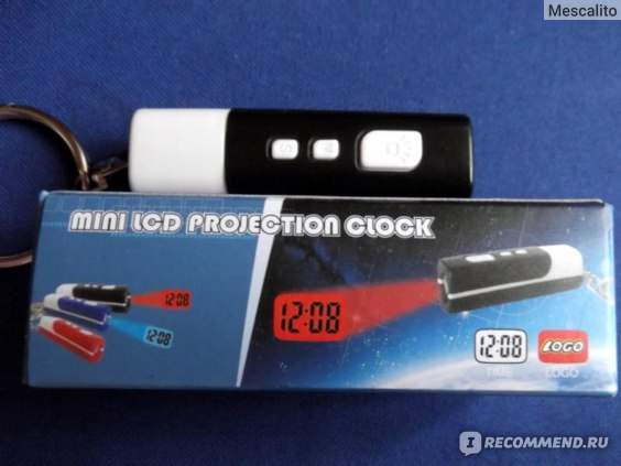 Цифровые часы TinyDeal Mini Tiny LCD Projector Projection Digital Clock with Key Chain Ring - Red FTY-5333 фото