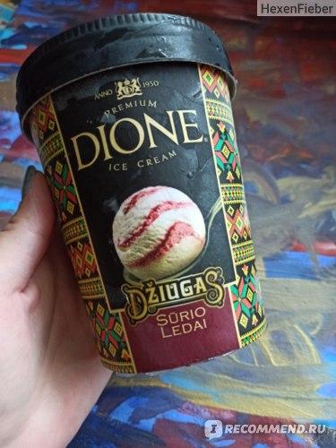 """Мороженое Dione Пломбир с клюквенным топингом и сыром """"Джугас"""" фото"""