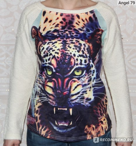 Пуловер AliExpress new 2014 fashion women knitted pullover pearls animalLeopard 3D printing long sleeve sew shirt sweatshirt фото