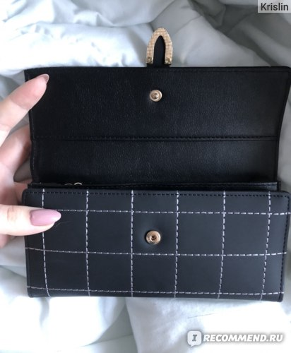 Женский кошелек Aliexpress AOEO Women Wallets Long With Plaid PU Leather Fashion Hasp Coin Purse Phone Bag 10 Card Holders Female Wallet for girls ladies фото
