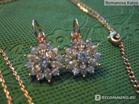 Комплект бижутерии Aliexpress Bamoer Luxury 18k Gold Plated Flower Jewelry Sets For Women Wedding with AAA Cubic Zircon фото