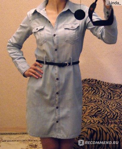Платье AliExpress 2014 New Arrival Promotion Freeshipping Natural Full Women's Double Pocket Long-sleeve Slim Waist Lacing Denim One-piece Dress фото