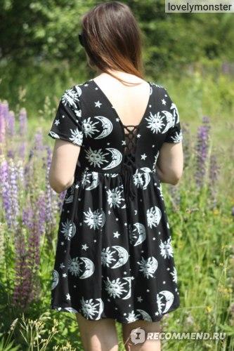 Платье AliExpress Women summer dress 2016 new fashion casual dress drawstring backless the sun moon and stars print loose short black dresses фото