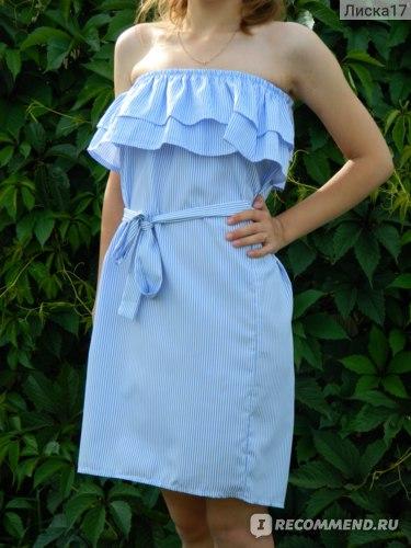 7b8a09a03c8db Платье AliExpress Lossky Women Dresses Striped Summer Dress Ruffle ...
