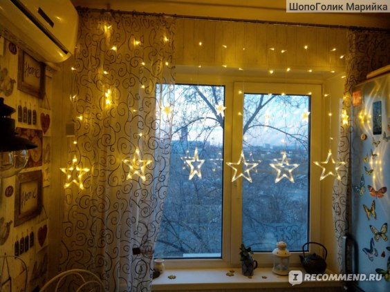 Гирлянда AliExpress 2.5M Christmas Lights AC 220V EU Romantic Fairy Star LED Curtain String Lighting For Holiday Wedding Garland Party Decoration фото