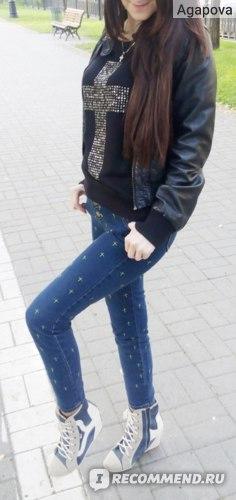 Джинсы AliExpress Hot Sale 2014 Korean Style Candy Retro Vintage Fluorescent Embroidered Cross Leggings Women Skinny Jeans Pencil Pants S-XL G069 фото