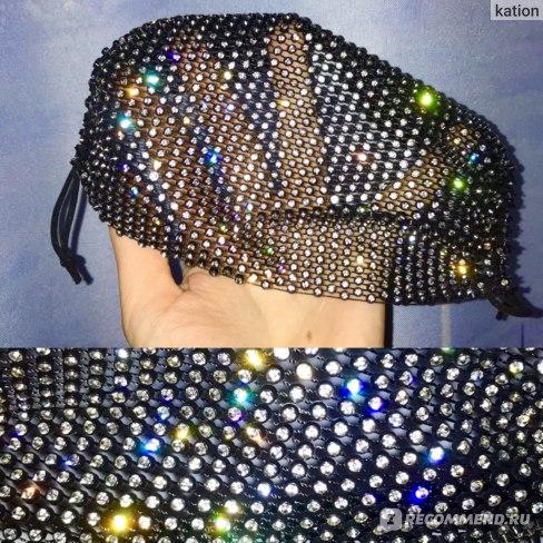 Маска для лица многоразовая Aliexpress  Funny unisex glitter Rhinestone mask, 1 piece, diamond crystal face mask for face decor, mesh black masks for party, wedding, night club, Muffle фото