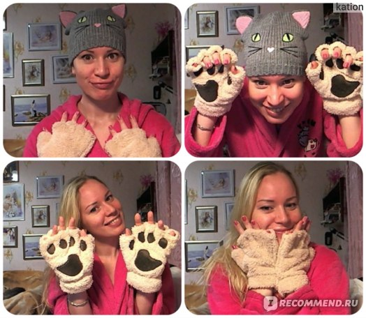 Перчатки женские AliExpress Woman Winter Fluffy Bear/Cat Plush Paw/Claw Glove-Novelty soft toweling lady's half covered gloves mittens christmas gift фото