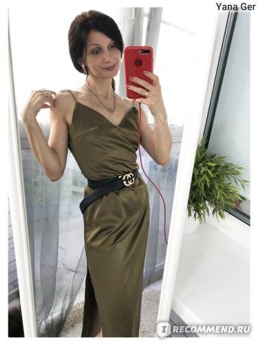 Платье-комбинация AliExpress InstaHot Sexy Satin V Neck Maxi Dress Women Spaghetti Strap Sleeveless Backless Side Split Long Dresses 2019 Spring Lady Vestido фото