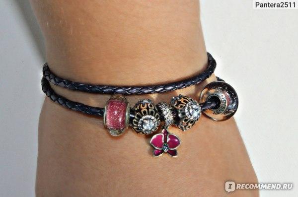 Браслет Pandora Фиолетовый двойной кожаный с серебряным замком 590705CPE-D фото