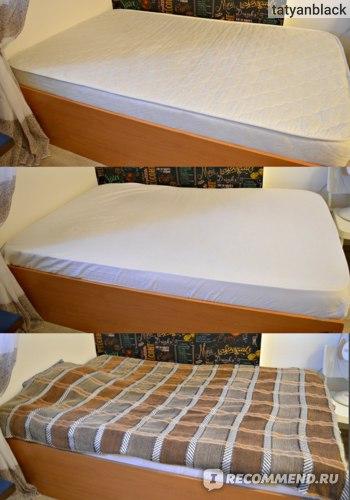 """1. """"Голый"""" матрас. 2. Матрас с простынкой. 3. Застеленная гостевая кровать. Askona Basic отзыв Аскона Бейсик матрас ортопедический хороший цены запах вес срок службы"""