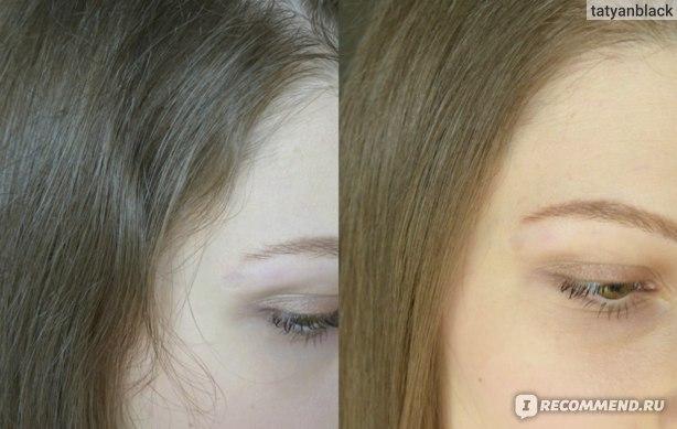 слева волосы не выпрямлены, справа - выпрямлены