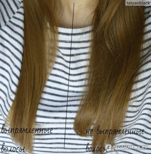 слева волосы выпрямлены, справа - не выпрямлены