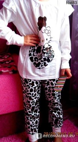Пижама AliExpress New Cotton Long Sleeve Pajamas Baby Girl Red Homewear Clothing Children Wear Free Shipping H121228-17 фото